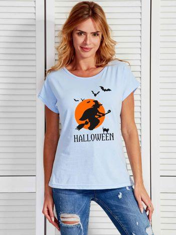 Niebieski t-shirt Halloween z nadrukiem czarownicy
