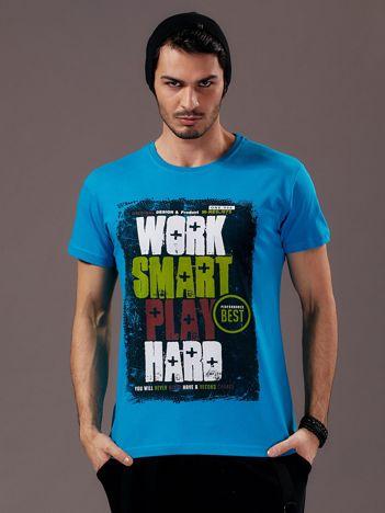 Niebieski t-shirt męski Work Smart