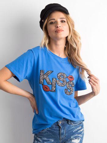Niebieski t-shirt z aplikacją