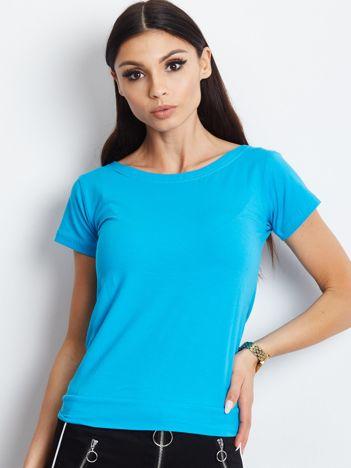 Niebieski t-shirt z wiązanym tyłem