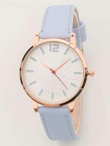 Niebieski zegarek damski z różami na tarczy