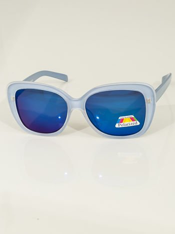 Niebieskie LUSTRZANE damskie okulary POLARYZACYJNE