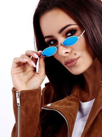 Niebieskie Lustrzane Metalowe Podłużne Okulary Unisex