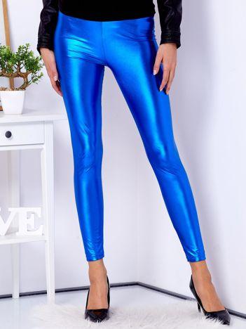 Niebieskie błyszczące legginsy