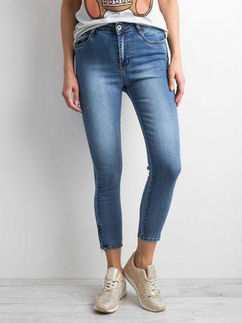 Niebieskie damskie spodnie ankle jeans