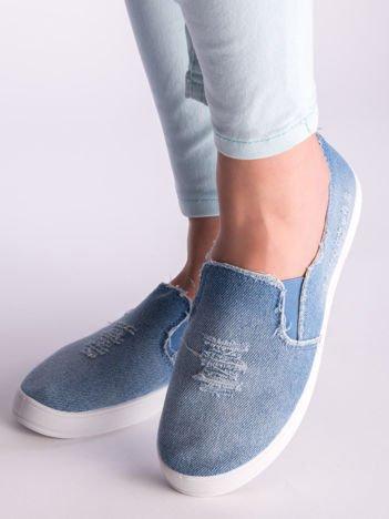 Niebieskie denim jeansowe tenisówki Malibu na płaskiej podeszwie
