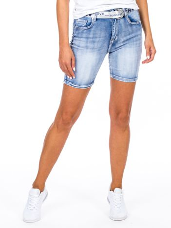 Niebieskie jeansowe szorty damskie z paskiem