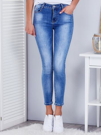 Niebieskie jeansy damskie rurki