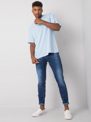 Niebieskie jeansy męskie regular fit z przetarciami Rylan
