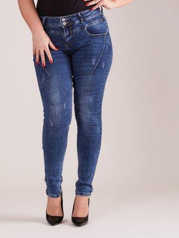 Niebieskie jeansy z przeszyciami PLUS SIZE