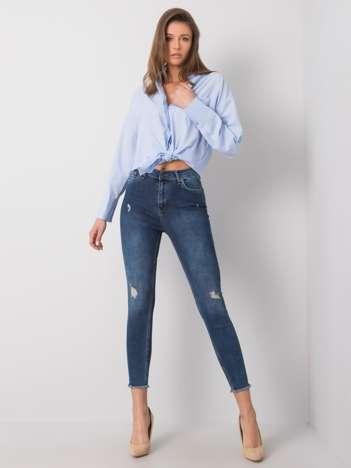 Niebieskie jeansy z przetarciami Leif RUE PARIS