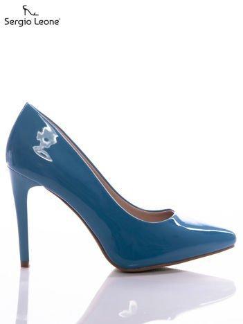 Niebieskie lakierki Sergio Leone na cienkich szpilkach