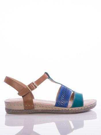Niebieskie sandały Sabatina z ażurowym paskiem