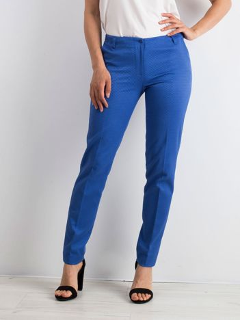 Niebieskie spodnie damskie o prostym kroju