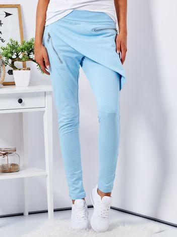 Niebieskie spodnie dresowe z suwakami