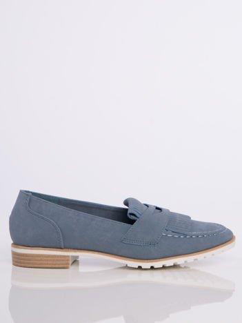 Niebieskie zamszowe marmurkowe lordsy z frędzelkami z przodu buta