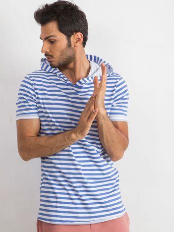 Niebiesko-biały t-shirt męski Looper