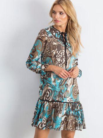 Niebiesko-brązowa sukienka Adventurous