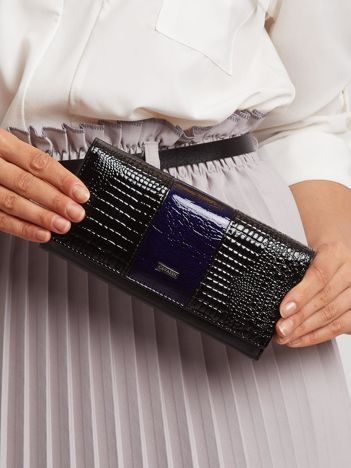 Niebiesko-czarny skórzany portfel