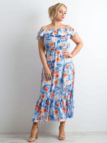 Niebiesko-koralowa sukienka hiszpanka maxi PLUS SIZE