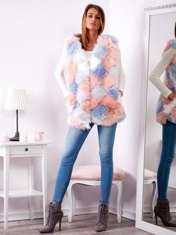 Niebiesko-różowa futrzana kamizelka