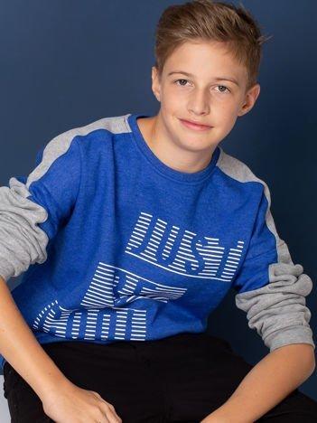 Niebiesko-szara bluza dziecięca z nadrukiem