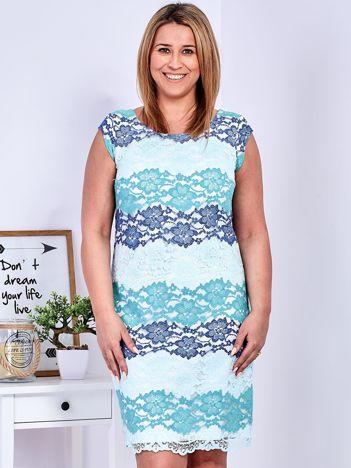 Niebiesko-zielona koronkowa sukienka PLUS SIZE