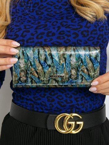 Niebiesko-zielony damski duży portfel