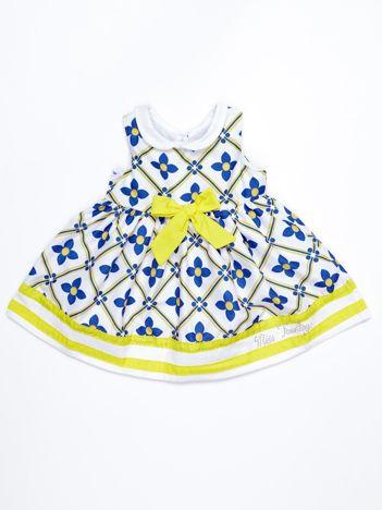 Niebiesko-żółta rozkloszowana sukienka dziecięca z kokardą