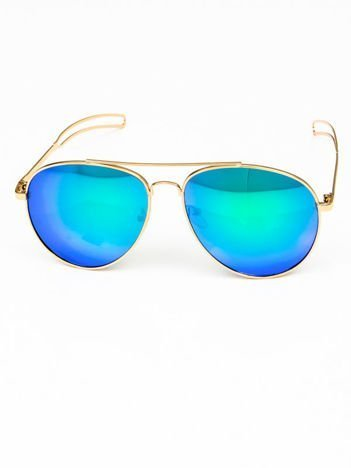 Niebieskozielone okulary w stylu PILOTKI AVIATORY lustrzanka