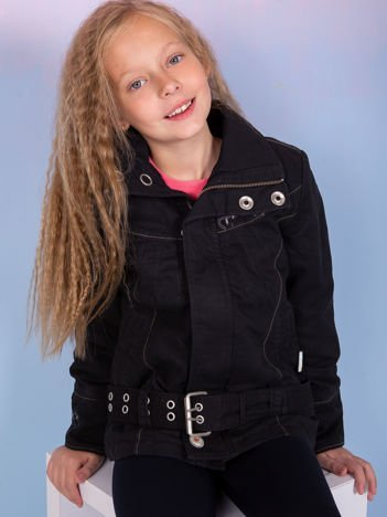 O'NEILL Czarna kurtka dla dziewczynki z paskiem
