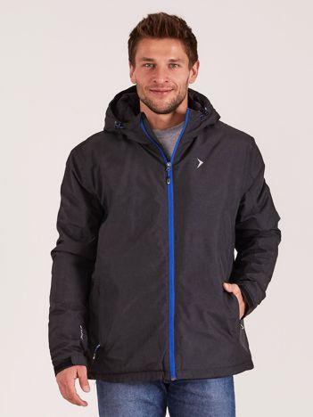 OUTHORN Czarna melanżowa męska kurtka narciarska