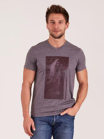 OUTHORN Szary t-shirt męski z nadrukiem