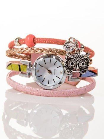 OWL różowy zegarek damski  z cyrkonią i sową