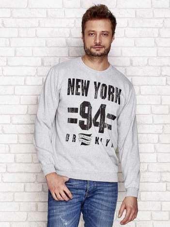 Ocieplana bluza męska z nadrukiem NEW YORK 94 szara