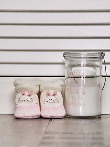 Ocieplane buciki dziewczęce z króliczkiem jasnoróżowe