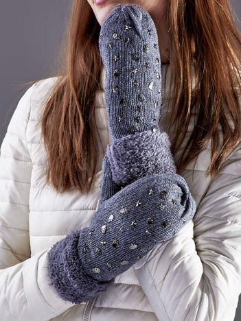 Ocieplane rękawiczki na jeden palec z ćwiekami ciemnoszare