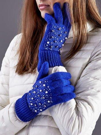 Ocieplane rękawiczki pięciopalczaste z perełkami niebieskie