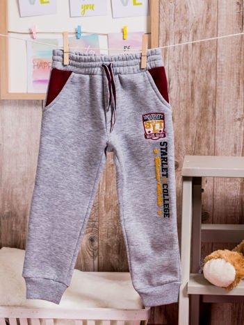 Ocieplane spodnie dresowe dziecięce z naszywką szare