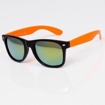 Okulary przeciwsłoneczne czarno-pomarańczowe w stylu NERDY lustrzanki szkło morskie