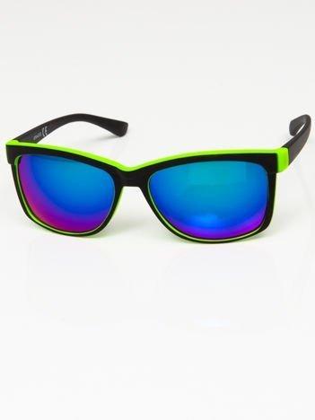 Okulary przeciwsłoneczne czarno-zielone lustrzanki niebiesko-zielone
