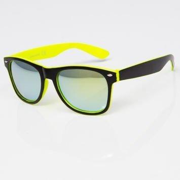 Okulary przeciwsłoneczne czarno-żółte w stylu NERDY lustrzanki szkło morskie