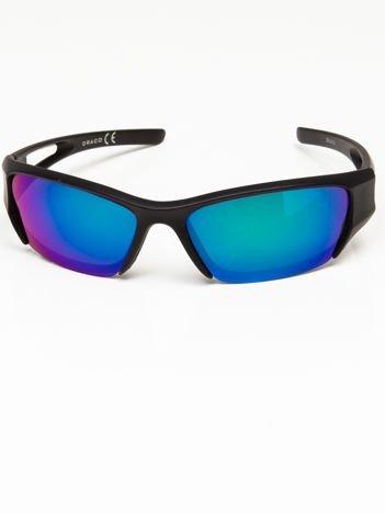 Okulary przeciwsłoneczne męskie w stylu sportowym lustrzanka niebiesko-zielona