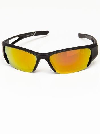 Okulary przeciwsłoneczne męskie w stylu sportowym lustrzanka żółto-złoto-pomarańczowe