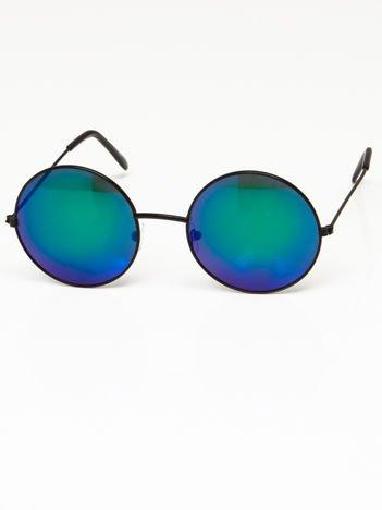 Okulary przeciwsłoneczne okrągłe w stylu LENONKI unisex czarne szkło zielono-niebieskie