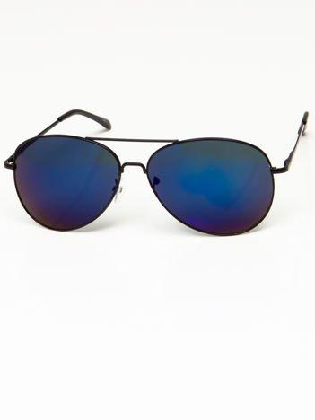 Okulary przeciwsłoneczne pilotki w stylu AVIATOR unisex czarne szkło szaro-niebieskie lustrzanka system FLEX na zausznikach BARDZO WYGODNE