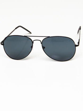 Okulary przeciwsłoneczne pilotki w stylu AVIATOR unisex czarne szkło zielono-szare system FLEX na zausznikach BARDZO WYGODNE