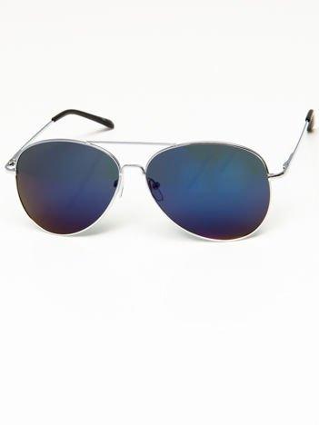 Okulary przeciwsłoneczne pilotki w stylu AVIATOR unisex srebrne szkło szaro-niebieskie lustro system FLEX na zausznikach BARDZO WYGODNE