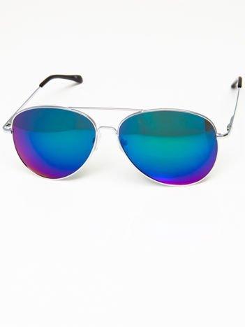 Okulary przeciwsłoneczne pilotki w stylu AVIATOR unisex srebrne szkło zielono-niebieskie lustro system FLEX na zausznikach BARDZO WYGODNE