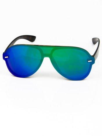 Okulary przeciwsłoneczne typu AVIATORY niebieskozielone LUSTRZANKI